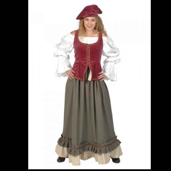 Middeleeuwse koopvrouw kostuum huren