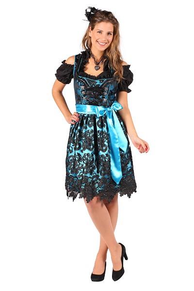 9e4bc8946e4987 Tiroler dirndl jurkje turquoise zwart maat 44